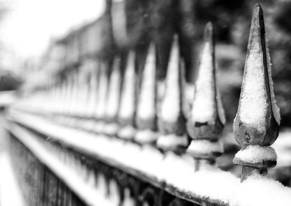Railings in snow, Allerton Road, Liverpool
