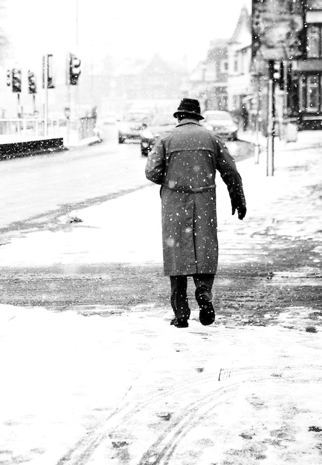 Tony Hancock in snow, Allerton Road, Liverpool