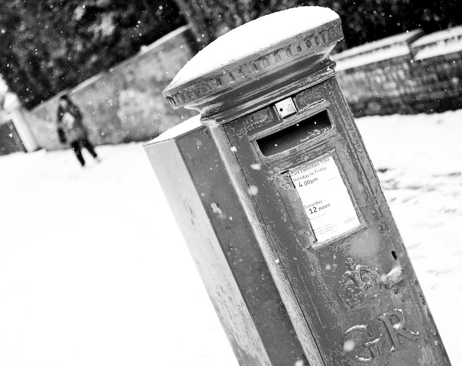 Postbox in snow, Liverpool