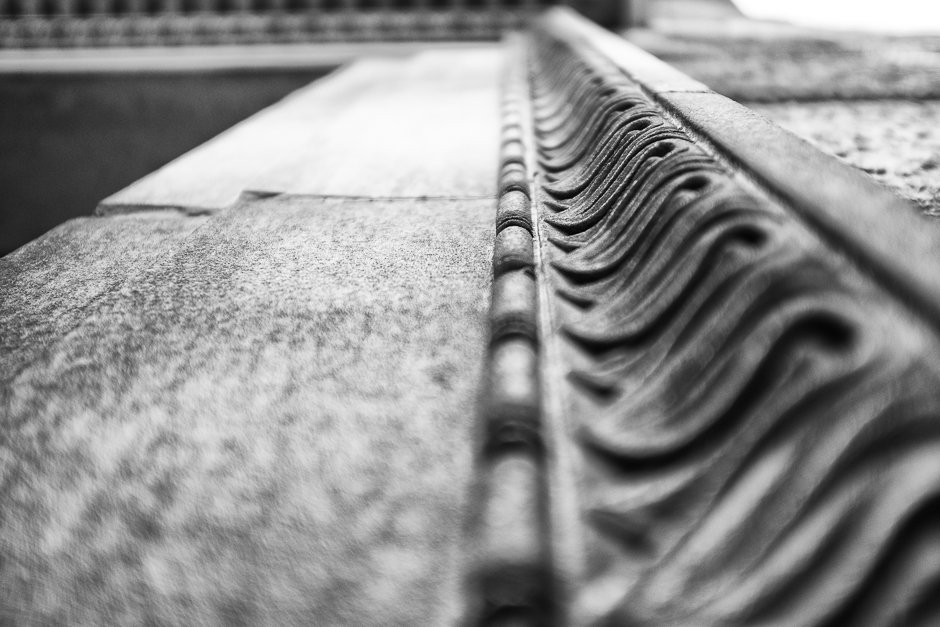 Black and white image of stone architecural detail - Liverpool