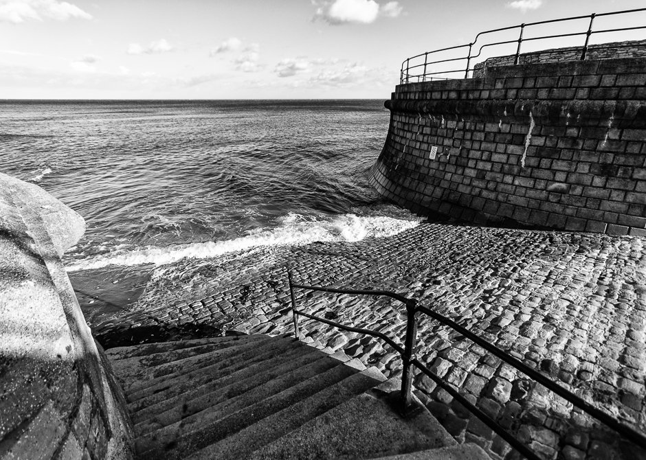 Sea washing into harbour, Filey