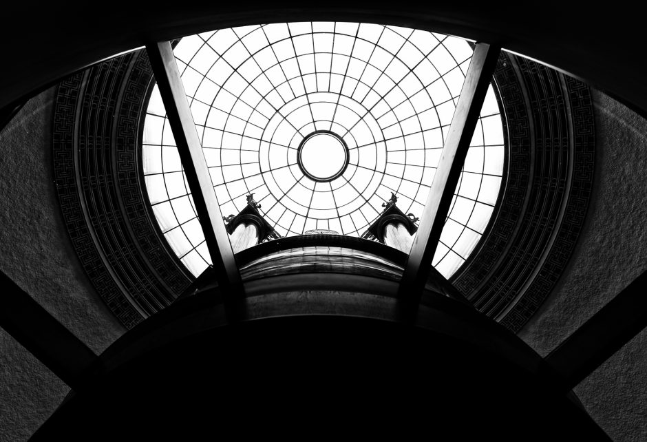 View of Reading Room dome from main entrance, Manchester Central Library