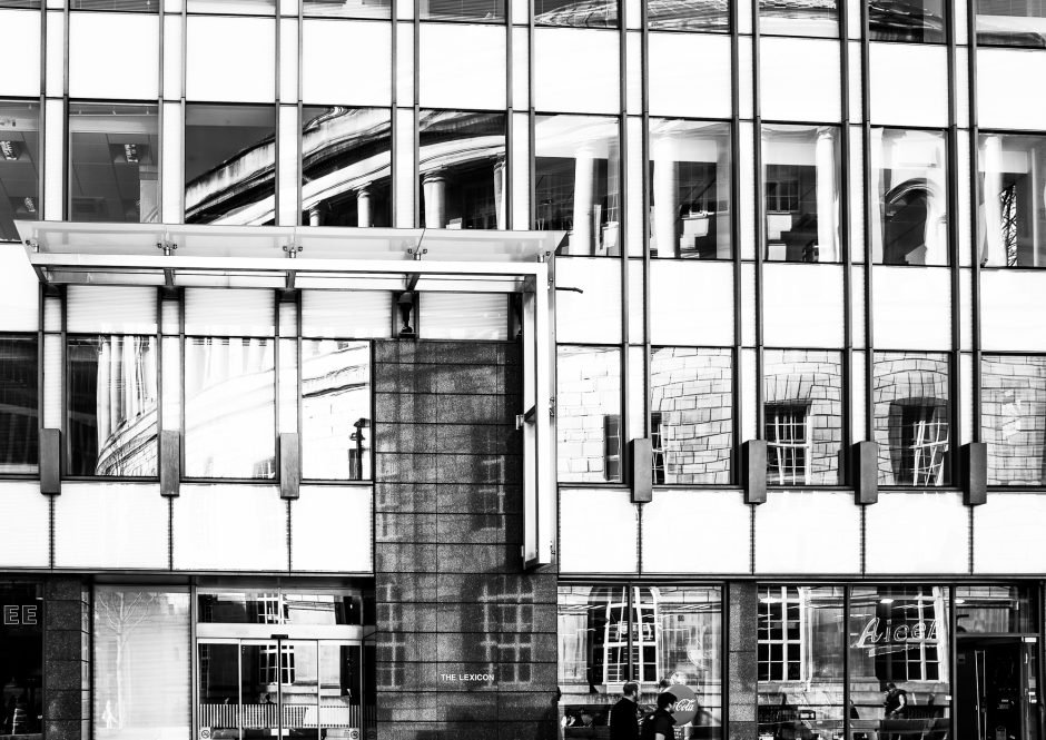 Manchester Central Library reflected in building opposite