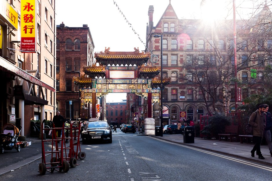 Chinese Arch wider view, Chinatown, Manchester