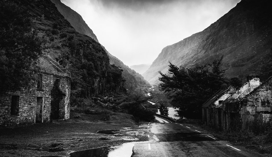Abandoned cottages near to of gap, Gap of Dunloe, Kerry