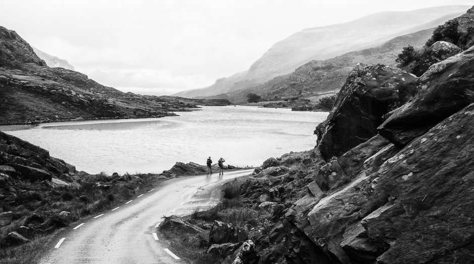 Walkers near lake, Gap of Dunloe, Kerry