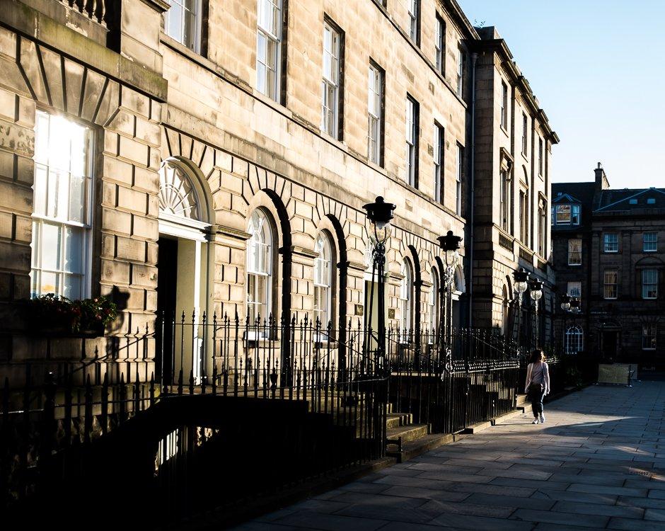 Light and shadow across townhouses, Edinburgh