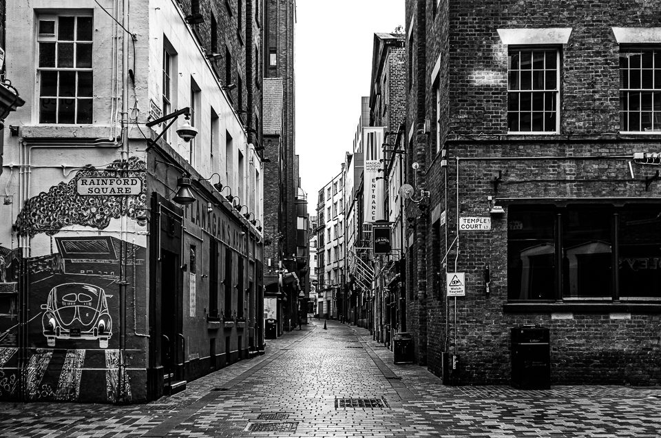 Mathew Street, empty during 2020 COVID-19 lockdown